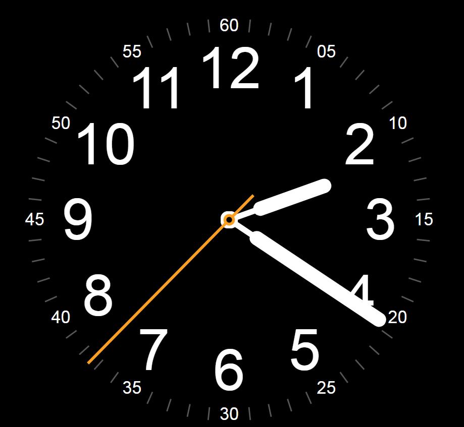 js原生态全屏黑色圆形表盘时钟日期时间动态特效源码
