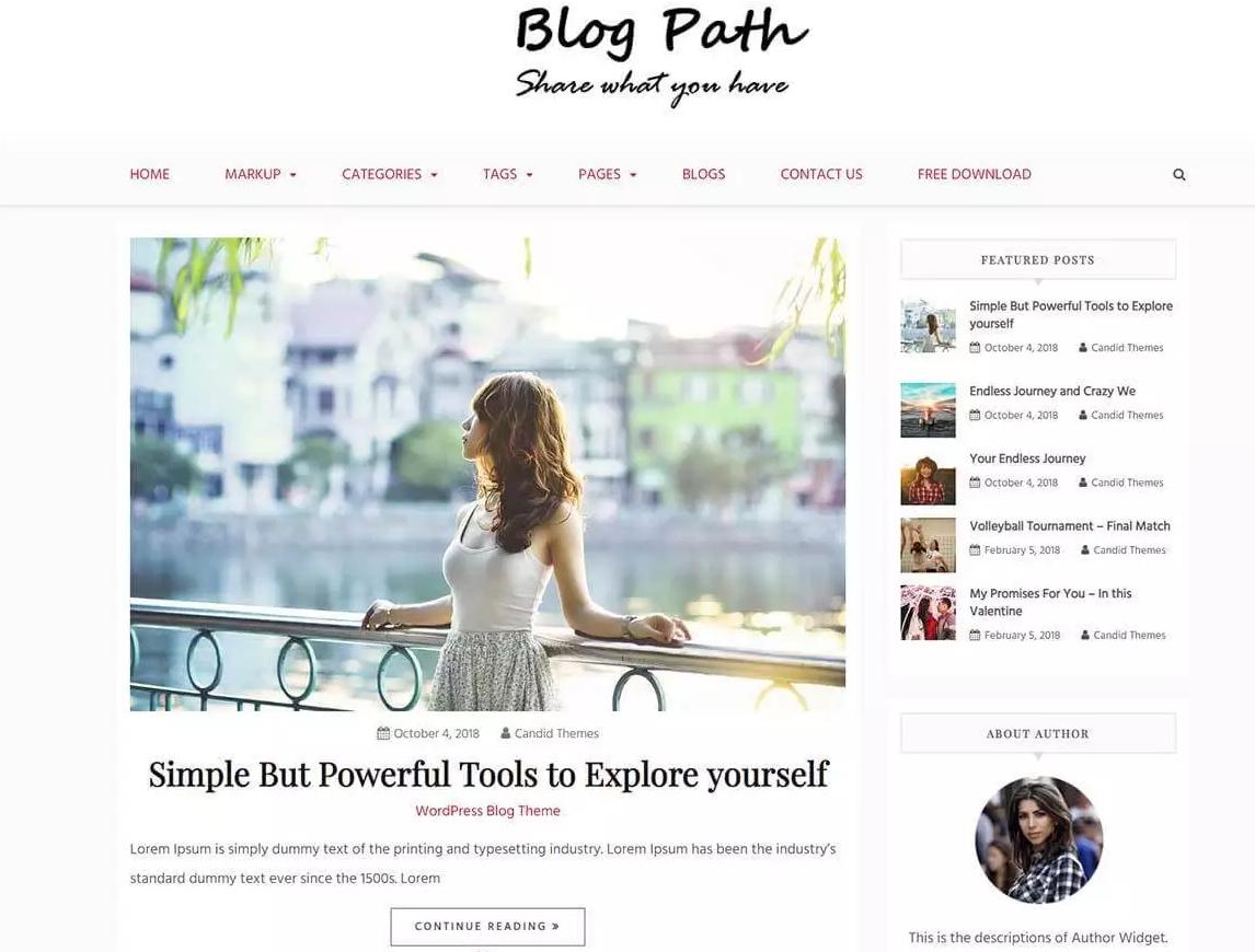 【wordpress模板】最好的免费WordPress主题Blog Path